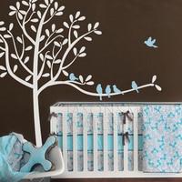 Птицы дерево стикер на стену виниловые обои с надписью Дети Детская комната Спальня украшение дома 180x200 см Рождество