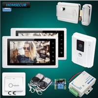 HOMSECUR 7 Video Door Intercom with Electric Lock+Power Supply + Exit Button+Remote Controller