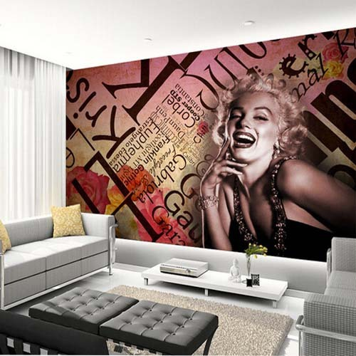 3d mural marilyn monroe wallpaper embossed wall art nostalgic ktv bedroom background wall. Black Bedroom Furniture Sets. Home Design Ideas