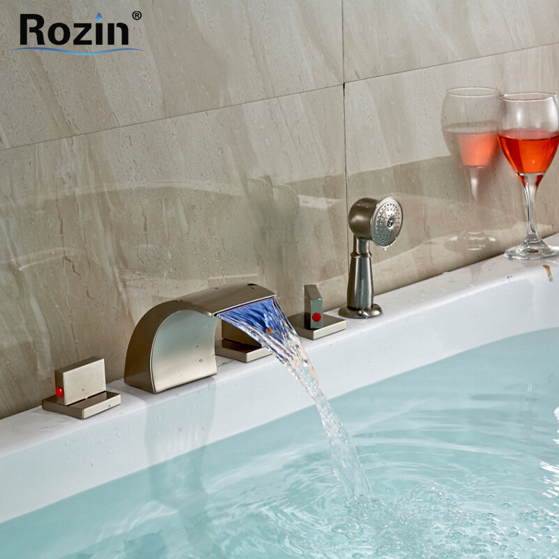 Widespread 5 Pc Color Changing LED Bathroom Bathtub Faucet Waterfall Spout + Handheld Shower Brushed Nickel Finish