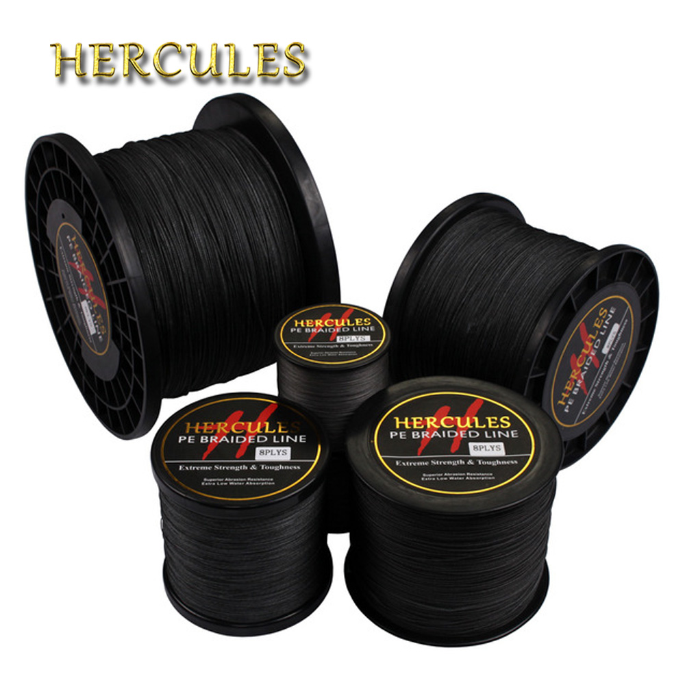 Hercules Braided Fishing Line Sea Saltwater Fishing 8 Strands Black 100M 300M 500M 1000M 1500M 2000M 100% PE Super Strong Cord