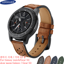 Lerxiuer Genuine Leather strap for Samsung Galaxy watch 46mm Gear S3 Frontier Classic band 22mm smart watch Bracelet watchband