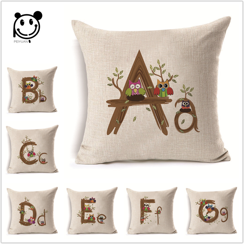 Printed Letter Linen Cotton Cushion Cover Animal Owl Sofa Throw Inspiration Decorating Pillow Cases