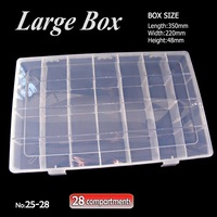 LARGE Box Storage 28 Compartments With Removable Dividers For DIY Nail Art Accessory Jewelry Beads Crafts