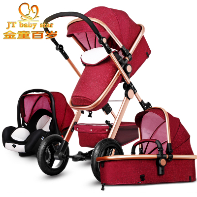 2017 Hot sell baby Stroller BB carriage 3 in 1 Baby car High landscope Ultra light Convenience to travel original hot mum baby strollers 2 in 1 bb car folding light baby carriage six free gifts send rain cover