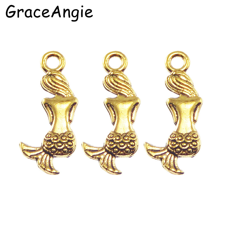 N30pcspack fashion women creative jewelry antique gold tone alloy 30pcspack fashion women creative jewelry antique gold tone alloy mermaid charms necklace pendant jewelry making 2082mm 50616 aloadofball Choice Image