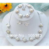 New Arriver Natural Pearl Jewelry Set White Baroque Freshwater Pearl Earrings Bracelet Necklace 11 13mm Fashion Lady's Style