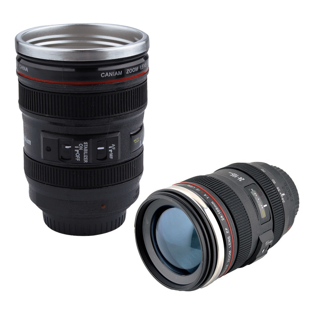 400ML Stainless Steel Camera Lens Coffee Mug Creative Lens Cup With Lid Travel Coffee & Tea Mug Camera Lens Water Bottle