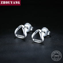 ZHOUYANG Simple Twist Triangle Silver Color S925 Stud Earrings 925 Sterling Silver Fashion Jewelry for Women Gift EY162(China)