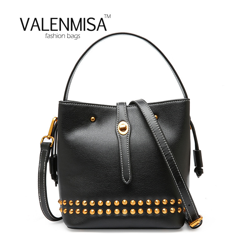 VALENMISA Genuine Leather Bucket Shoulder Bag Rivet Luxury Handbags Women Bags Designer High Quality Bags For Women 2018 2018 new fashion top handle bags women cowhide genuine leather handbags casual bucket bags women bags rivet shoulder bags 836