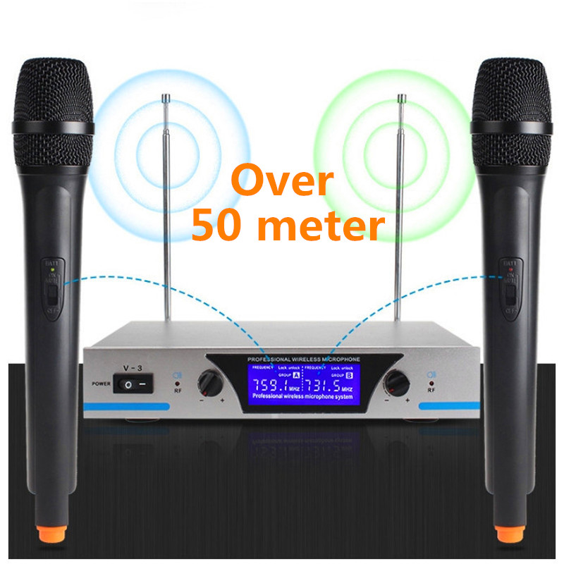 Finlemho Wireless Microphone Karaoke V 3 Dynamic Capsule 2 Channel UHF For Home Studio Audio Professional in Microphones from Consumer Electronics