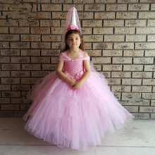 V  shaped Pink Glittery Ball Gown Tutu Dress Princess Stunning Flower Birthday Party Tulle Dress Wedding Photograph Clothes