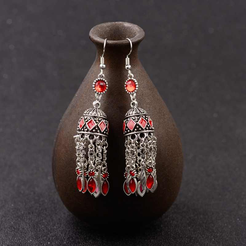Amader Round Classic Carved Long Earrings For Women Vintage Boho Ethnic Red Indian Earrings Jewelry Exaggeration Jhumkas HXE088