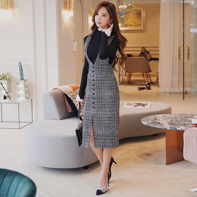 6959460a308d3 Dabuwawa Autumn Winter Strap Dress 2018 New Vintage Office Lady V-...