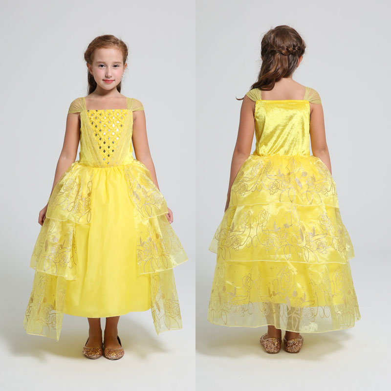 2017 Summer Beauty and Beast Belle Princess Dress Sleeveless Yellow Teenage Performance Party Cosplay Costume Belle Vetido 4-10Y