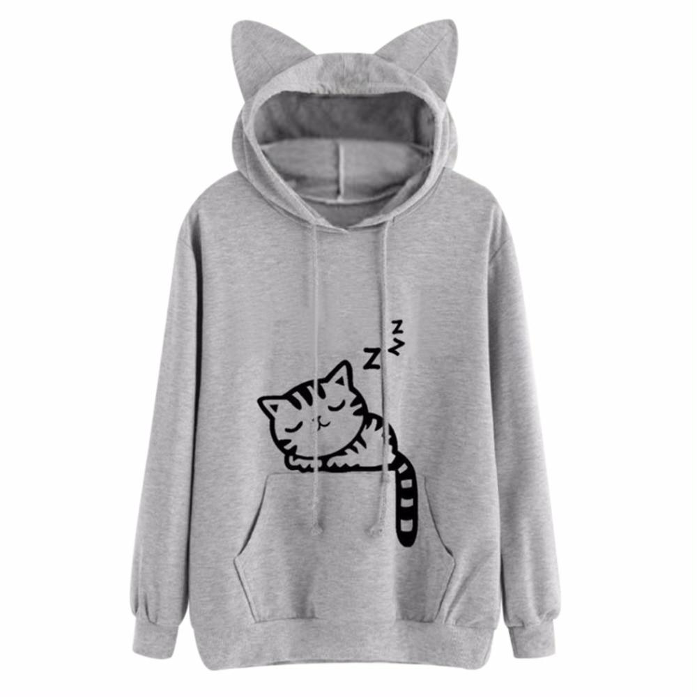 Neue Design Katze Ohr Kapuzenmantel Frauen Sweatershirt Schlaf Katze Gedruckt Herbst Langarm Pullover Weibliche Mode Outwear Frauen 3