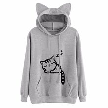 New Design Cat Ear Hooded Coat Women Sweatershirt Sleep Cat Printed Autumn Long Sleeve Pullovers Female Fashion Outwear Womens(China)