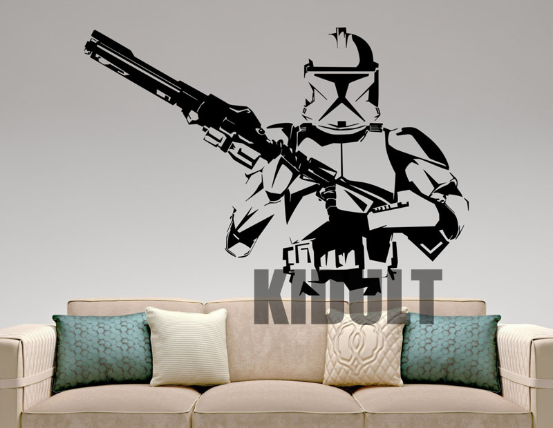 Stormtrooper Star Wars Wall Stickers Cartoon Wall Decals Vinyl Decorative Wall Painting Home