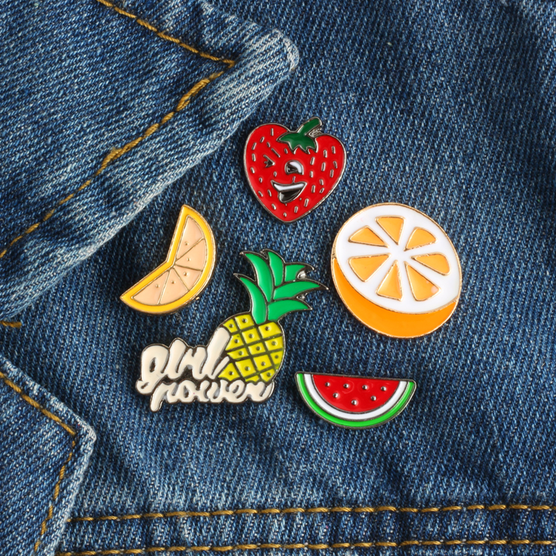 1pc Cartoon Fruit Watermelon Metal Badge Brooch Button Pins Denim Jacket Pin Jewelry Decoration Badge For Clothes Lapel Pins Badges Apparel Sewing & Fabric