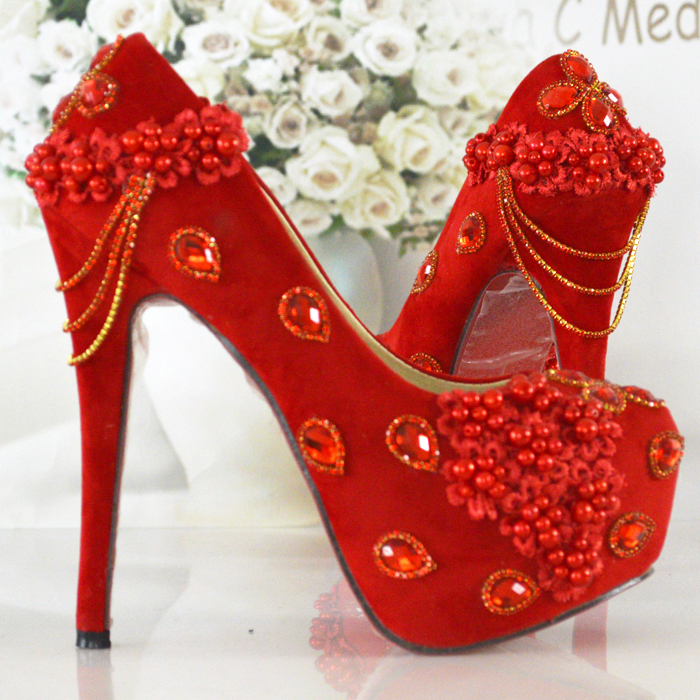 Aesthetic Chinese style red wedding shoes red high-heeled shoes bridal shoes dress shoes free shipping
