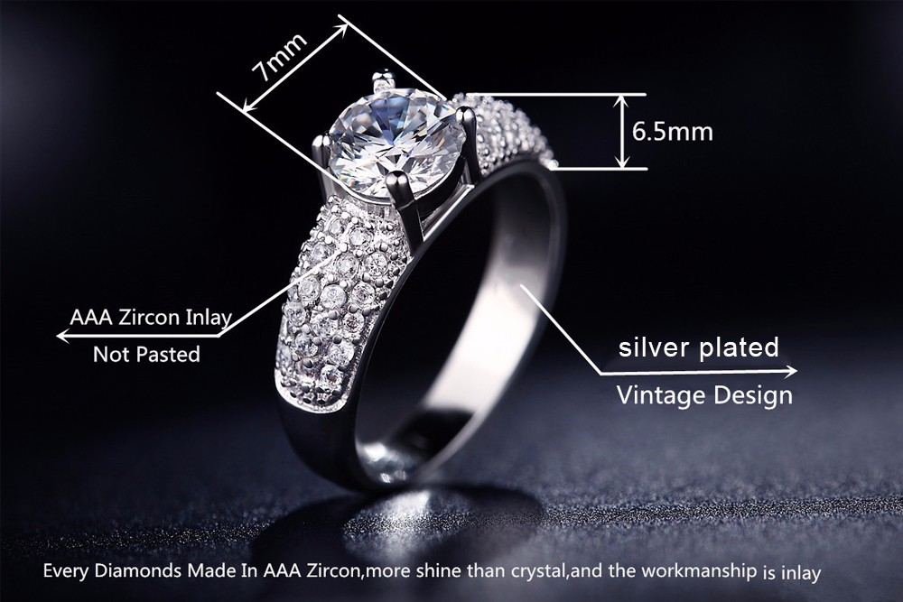 925 stealing silver fashion Ring for woman Romantic 18K Gold Plated four claw Rings Wedding Jewelry Bijoux zirconia Accessories bague anillos KR003 (18)