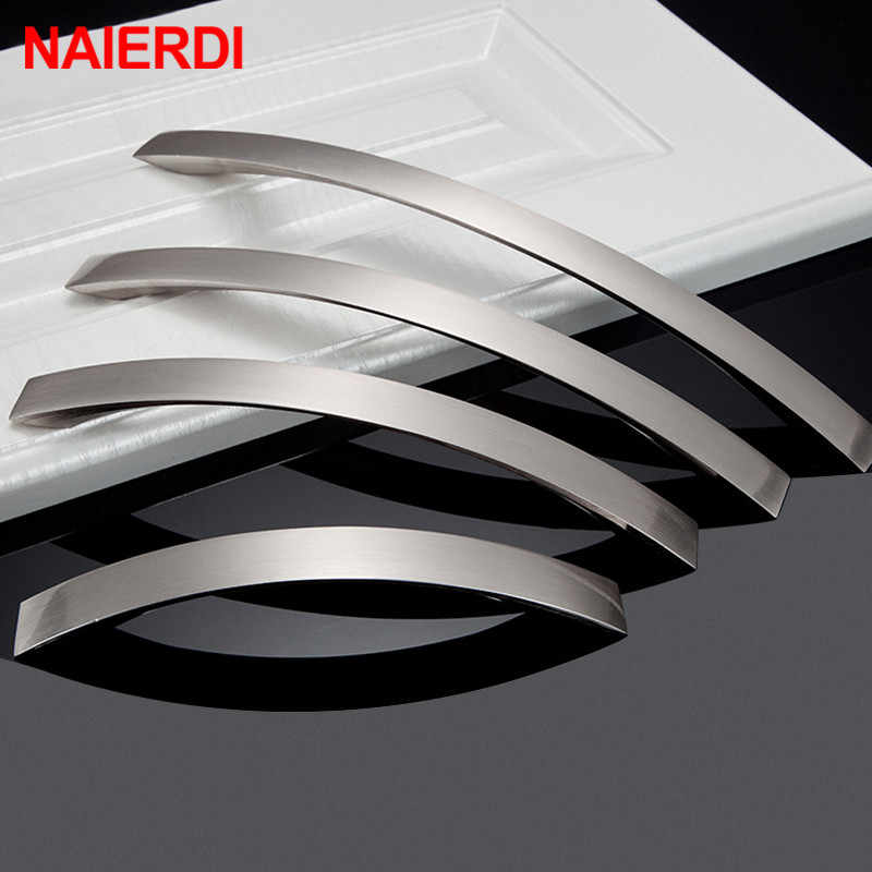 NAIERDI Cabinet Handles Knobs Aluminum Alloy Door Kitchen Knobs Cabinet Pulls Drawer Furniture Handle Hardware 128mm/160mm/192mm