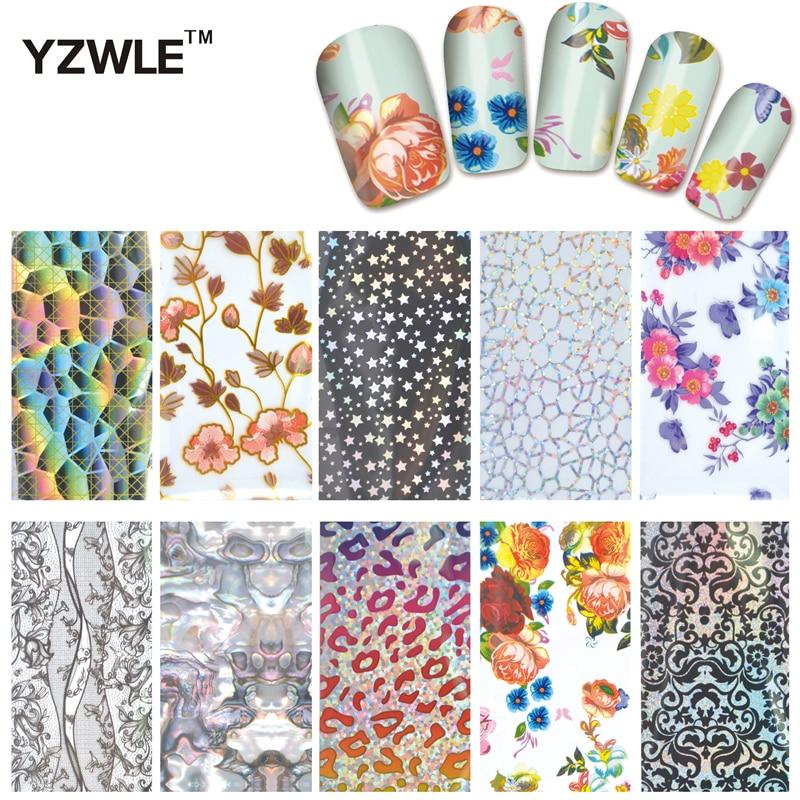 YZWLE 10 Designs Nail Art Full Tips Wraps DIY Nail Transfer Foil Decals Foils Polish Adhesive Wraps #XKT-N21 12x sexy colorful full cover nail art polish sticker metal adhesive foils patch diy beauty nail art tools y stzj 18