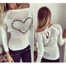 Young Ladies Back Bow Tops Off Shoulder Sweet Heart Patchwork Back Hollow Solid O Neck Long Sleeves Pullovers Knitted Sweater
