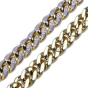 Image 5 - Maimi collier à maillons cubains pour hommes, 14mm, en argent plaqué or glacé, Zircon cubique, colliers à maillons cubains, cadeaux