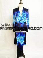 Новый 2016 костюм для мужчин певцы шелк ткань для платья в крапинку брюки холодный огонь пламени Пром торжественное платье вечерние костюмы!