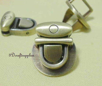 purse lock wallet Thumb latch tongue clasp anti brass 7/8 inch x 5/8 inch E56