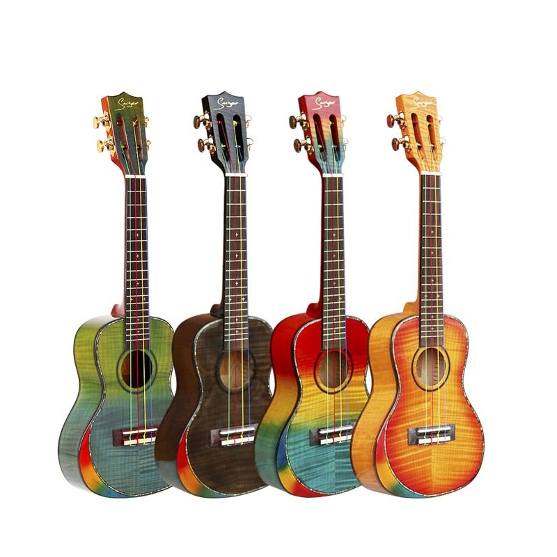 Free shipping Solid Spruce 23inch Rainbow colors small guitar Ukulele bright shells Flamed Maple high-gloss Uklele classic head jimmy page standard lp guitar flamed maple free shipping
