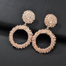 Big Drop Earrings for Women Geometric Statement Earrings Female  Hanging Metal Pattern Circle Earrings Fashion Modern Jewelry geometric overstate big circle drop earrings