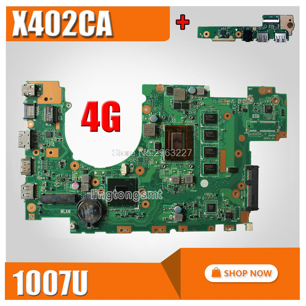 send board+X402CA Motherboard REV2.1 1007 4GMemory For ASUS X502CA X402CA Laptop motherboard X402CA Mainboard X402CA Motherboard for asus x502ca laptop motherboard x402ca rev2 1 with 847cpu 4g mainboard fully tested