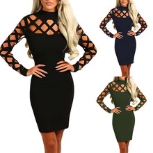 2017 Ukraine Women Sexy Spring dress hollow vintage Green blue Black mini dress Gothic Punk dress Long sleeves robe gothique