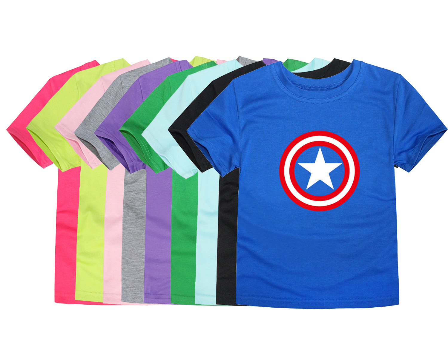 Children Brand Tops Boys Captain America T Shirt Baby Girls Superhero Tees Kids T-Shirt  For 2-14 Years