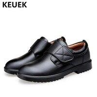 Nuevos zapatos de vestir negros clásicos de cuero genuino para niños y bebés, zapatos únicos transpirables para niños y niñas, pisos 041