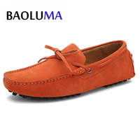 Men Casual Shoes Italy Men Real Suede Leather Sneakers Loafers Moccasins Slip on Breathable Candy Color Male Flat Shoes Big Size