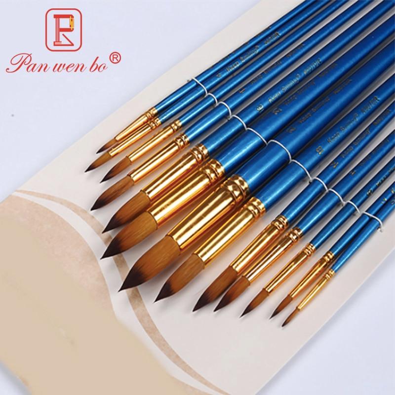 Tip Head Nylon Hair Blue Paint Brush Artists Paint Brush School Acrylic Gouache Art Paintbrushes Supplies