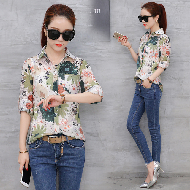 Spring Summer Chiffon Office Ladies Blouses