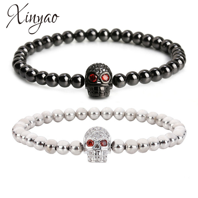 Xinyao Micro Pave Zircon Skull Charm Bracelet For Women Gold Rose Color Skeleton Head
