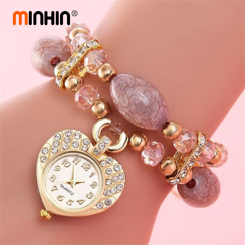 MINHIN Women Gorgeous Bracelet Wedding Jewelry Love Heart Pendant Watch Wrist Bracelet Bangles Charms Bracelet Gift gorgeous rhinestone square star bracelet for women