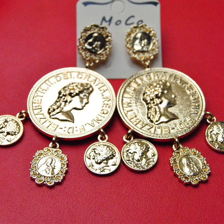 2015 Baroque Style Big Cross Earrings Vintage Dangle