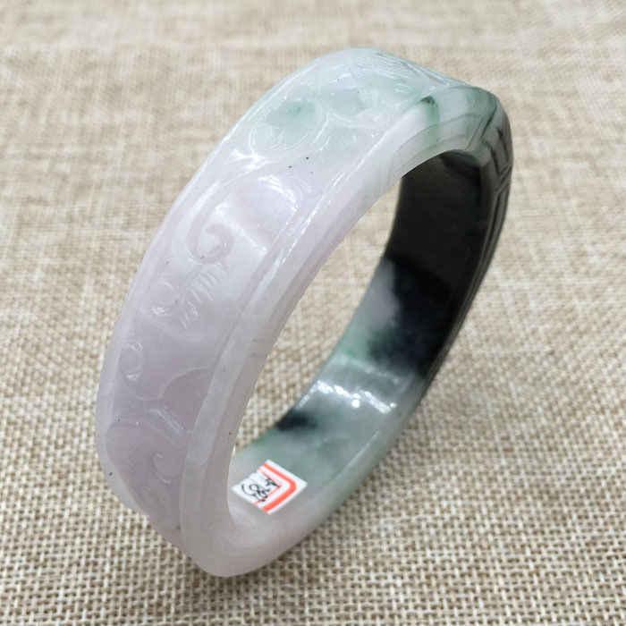 DYY 59มิลลิเมตรวินเทจจีนมือแกะสลักสีขาวสีเขียวหยกJadeiteสร้อยข้อมือกำไลข้อมือ783