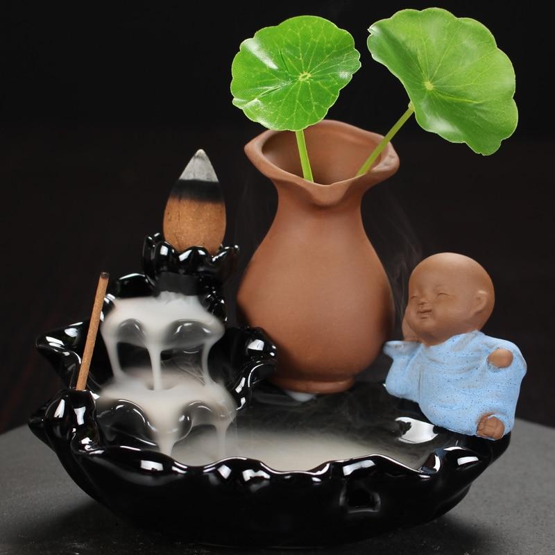 Backflow Incense Burner Little Monk Buddha Stick Incense Holder Home Decor Ceramic Buddhist Censer + 10Pcs Incense Cones
