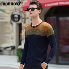 HS Free Shipping Knitted Cashmere Pullover Men Fashion Hit Color Patchwork V-Neck Sweater Men Brand Clothing Wool Sweaters 66174
