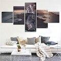 Lo nuevo Isla 5 Paneles Decoración Moderna de la Lona de Arte Impresiones Gato y el Tigre Fotos Pinturas Lienzo Arte de La Pared Pintura Decoración