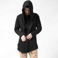 Plus Size S 5XL Men's Hooded Long Hoodies Men Hip Hop Loose Sweatshirt Man Black Bat Cardigan Cotton Cloak Mantle Coat Outwear