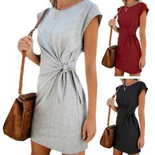 Women Short Sleeve Summer Loose Casual Mini Dress Lace Up Tie Waist Solid Color O-Neck Twist Knot Plain T Shirt Party Sundress bishop sleeve knot back plain bodysuit