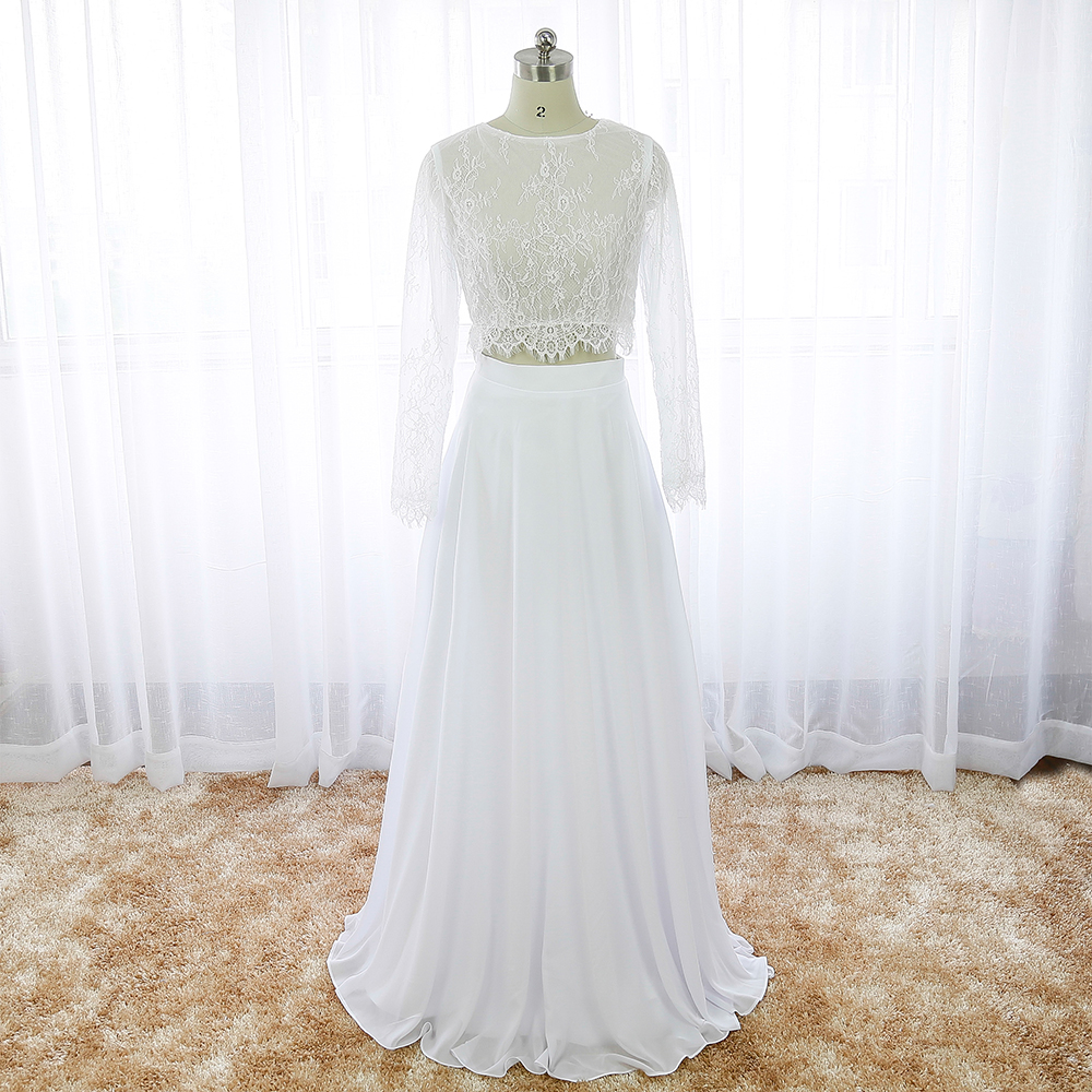 White boho wedding dress two piece lace long sleeve cheap for Bohemian white wedding dress